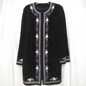 Bernardo Long Embroidered Leather jacket